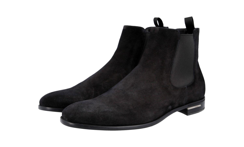 Autorización de lujo Prada Half-Zapatos Bota De Gamuza Negra 2TC028 nuevo nos 6.5