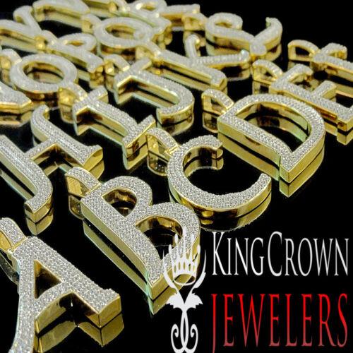 Chain 10K Yellow Gold Silver Initial Letter Alphabet Charm Simu Diamond Pendant