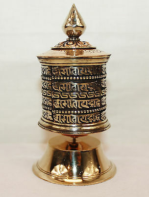 "F990 Small Table Top Tibetan Prayer Wheel ""Om Mane"" Hand Crafted in Nepal"