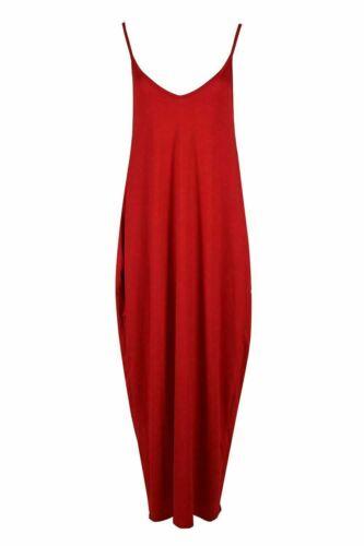 New Womens Ladies Cami Strappy Lagen Look Baggy Italian Drape Summer Maxi Dress