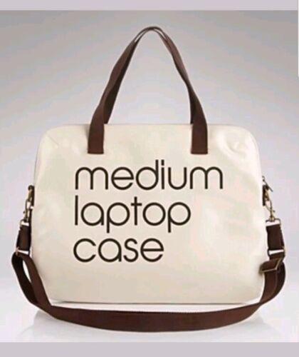 Bloomingdales Medium Lap Top Case Coated Canvas Brown Tan Beige Messenger Bag