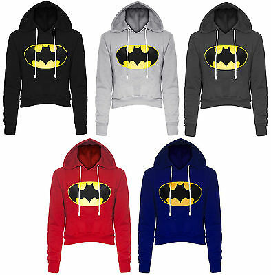 Kenntnisreich New Womens Logo Batman Print Crop Hoody Ladies Fleece Hooded Sweatshirt Top 6-14