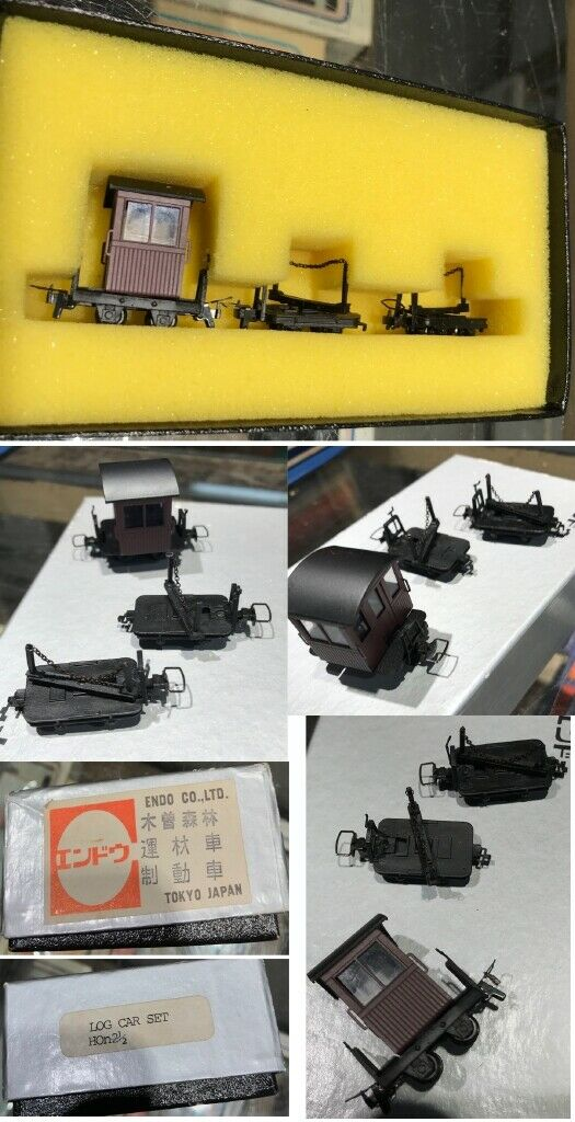 HO TRAINS LCSS PRECISION SCALE CO. LOG CAR SET HON 2 1 2 ENDO CO. TOKYO JAPAN