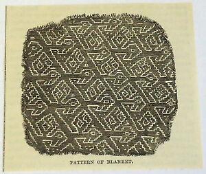 small 1883 magazine engraving ~ PATTERN OF BLANKET, Peru