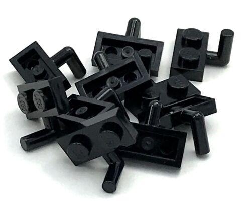 Lego 10 New Black Plates Modified 1 x 2 Arm Up Horizontal Arm Length Pieces