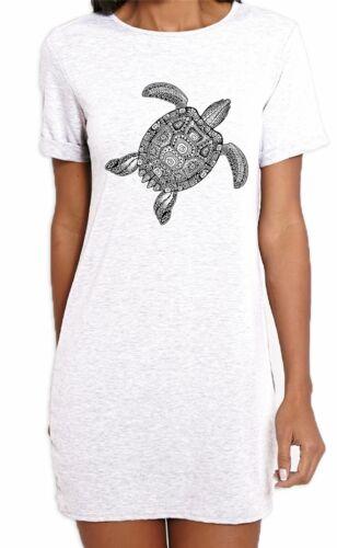 Tribal Turtle Tattoo Hipster Large Print T-Shirt Femme Robe