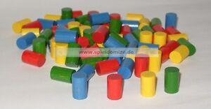 20-Zylinder-HOLZ-SPIELSTEINE-Bastelmaterial-in-4-Farben-14-x-8-mm-NEU