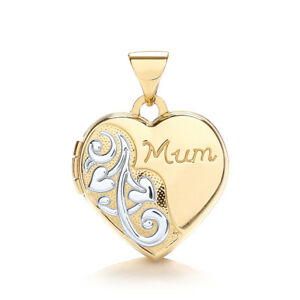 9-Ct-Or-jaune-et-blanc-OR-FORME-COEUR-MAMAN-medaillon