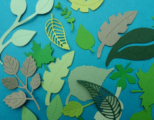Art 100 ++ Green Card LEAVES for Crafts Card making,Decoration Great value!!