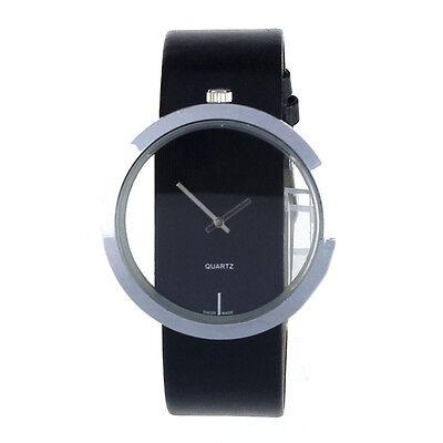 1PC New Women's PU Leather Transparent Dial Hollow Analog Quartz Wrist Watch UK