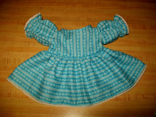 "TURQUOISE BLUE FLOWER+STRIPES W// LACE DRESS for  16/"" CPK Cabbage Patch Kids"