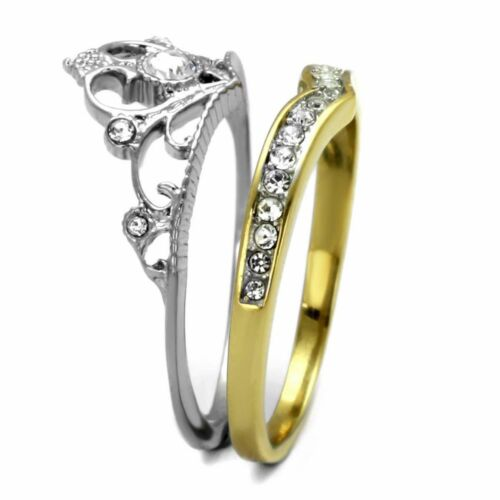 Womens 3.5x3.5mm Round CZ Two-Tone Gold IP Stainless Steel Crown 2 RINGS SET