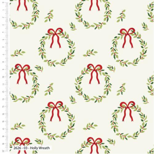 Holly wreath Traditional Christmas xmas cotton fabric fat quarter-metre