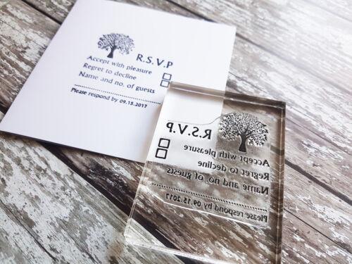 RSVP Wedding Party stamp DIY wedding custom stamp Tree design