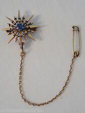"14K Rose Gold Victorian 1"" Starburst Sapphire Brooch Safety Pin Arrow 5.6gr Rare"