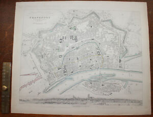 1852 Plan of the City of Frankfurt Am Mayn Charles Knight Original Sachsenhausen