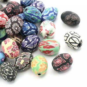 10 Perlen aus Polymer Clay Ton 12-13mm Blumen Muster Fädelloch 2mm Kugel rund