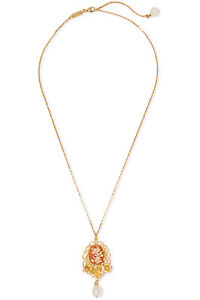NIB-DOLCE-AND-GABBANA-GOLD-PLATED-CAMEO-AND-FLORAL-FILIGREE-NECKLACE-RRP-475