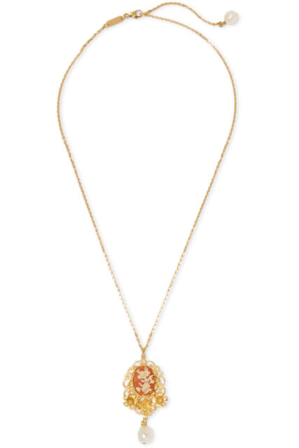 NIB- DOLCE AND GABBANA GOLD-PLATED CAMEO AND FLORAL FILIGREE NECKLACE- RRP£475