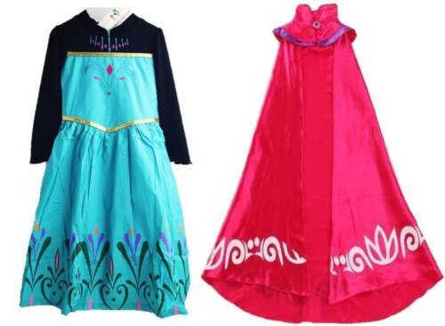 NEW FROZEN ELSA CORONATION DRESS COTTON LONG CAPE COSTUMES GOWN KIDS GIRLS