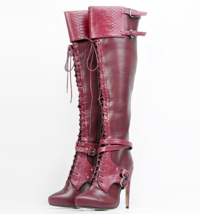 Chaussures femme talons aiguilles bout pointu et Hautes En Cuir Bottes Sz35-47 Talon Haut Chaussures