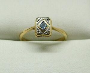 Art-Deco-Very-Nice-18-carat-Gold-Blue-Topaz-And-Diamond-Ring-Size-M