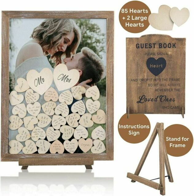 PMPX Wedding Guest Book Alternative Vintage Drop Top Frame with Stand 80 Hearts