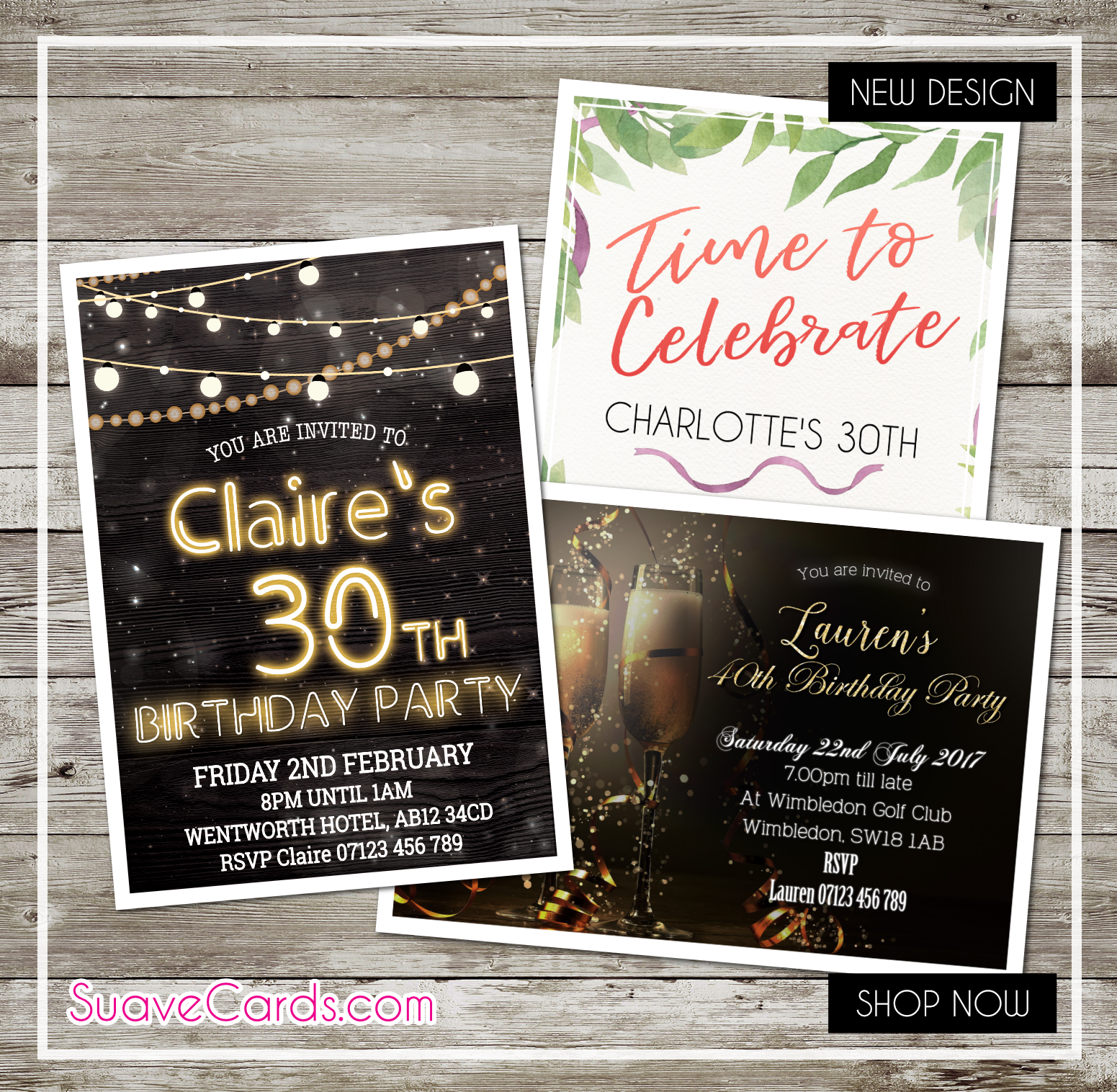 Personalised Birthday Invitations Party Invites for 40th 50th 60th 30th 21st