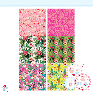Tropical Patchwork Edible Icing Sheet flamingo hibiscus palm leaves