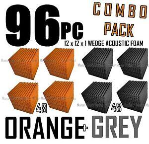 ComBo-96-pack-ORANGE-and-charcoal-GREYAcoustic-Wedge-Sound-Studio-Foam-12x12x1