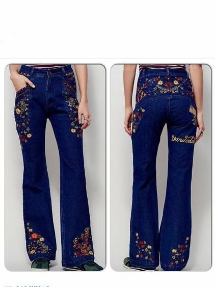 FREE PEOPLE Spell Designs Gypsy Wanderlust Embroidered Jeans Pants ☮ XS S