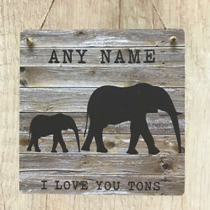 I-love-you-tons-Elephant-Plaque-Personalised-Name-Rustic-Wood-MDF-Custom-Signs