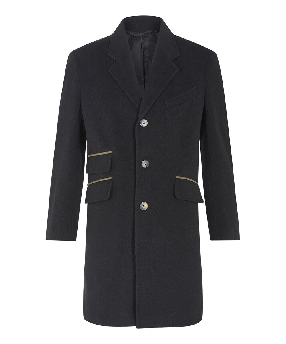 De La Creme - Men`s Wool Cashmere Slim Fit Luxury Coat