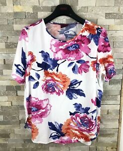 Joules-Ladies-Size-14-Floral-White-Pink-T-Shirt-Top