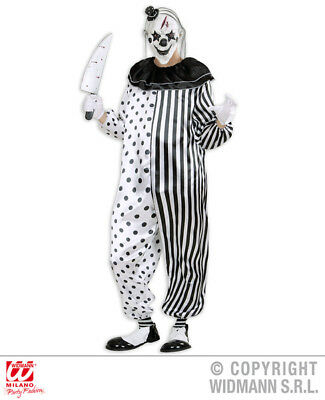 Mens Pyscho Pierrot Jester Clown Halloween Fancy Dress Costume Adults Outfit