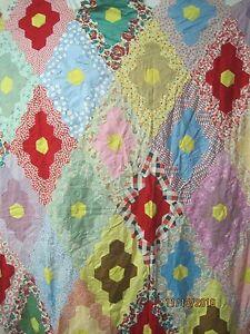 Vintage 1940 39 S Quilt Top Unfinished Diamond Block Grandmother 39 S Flower Garden Ebay