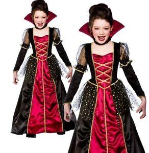 Child DELUXE PRINCESS VAMPIRA Dracula Bride Halloween Girls Fancy Dress Age 5-13