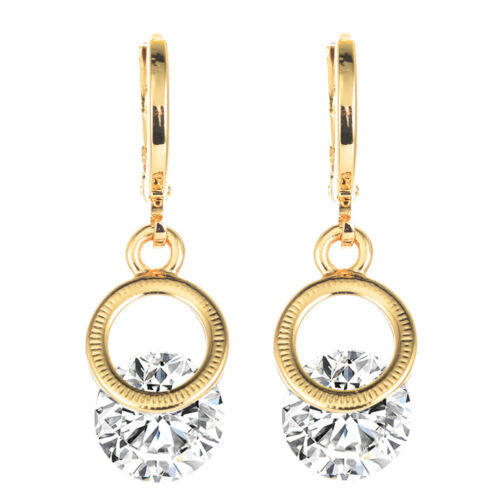 Femmes 18K plaqué or cercle rond blanc zircone cubique zircone cubique Drop Dangle Earrings
