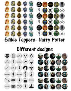 30 x HARRY POTTER SYMBOLS Edible Wafer Paper Cupcake Toppers *PRECUT*