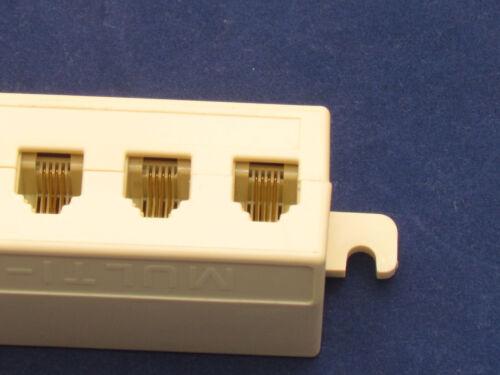 RJ11 Jack 5 Way Outlet Telephone Phone Modular Line Splitter Plug Adapter 6P4C