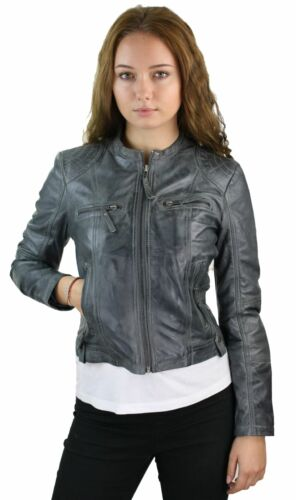 Ladies Real Leather Jacket Short Fitted Vintage Style Grey Retro Chinese Collar