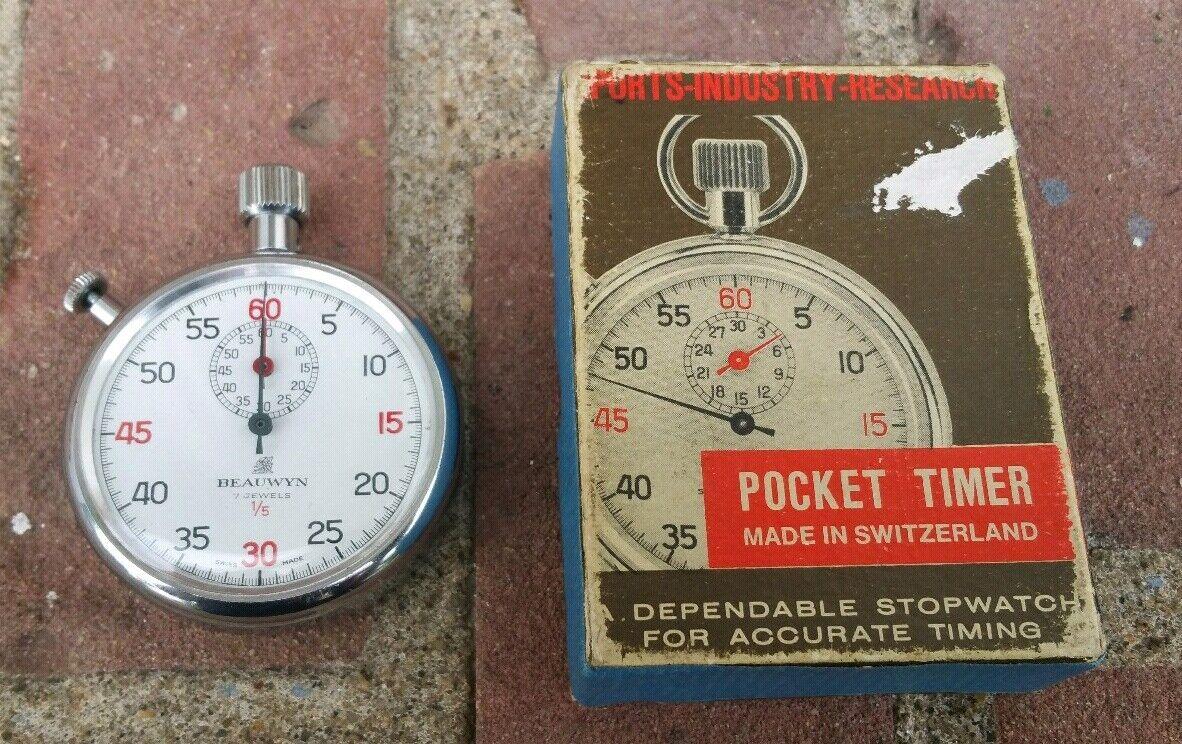 Swiss Made Beauwyn 7 Jewels 1/5 Vintage Wind Mechanical Wind Vintage Up Stop Watch VERY NICE 332135