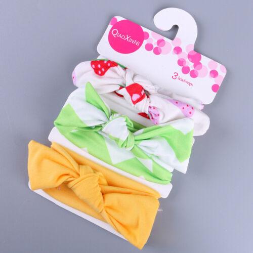 3Pcs Enfants Floral Serre-Tête Filles Bébé Élastique Noeud Accessoires Hairband Set