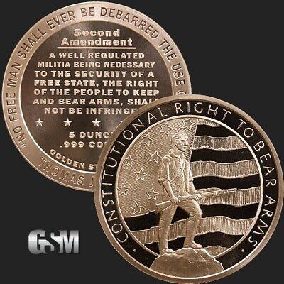 • INCUSE INDIAN Design 5 oz • .999 Copper Bullion BIG 5oz Coin 63MM