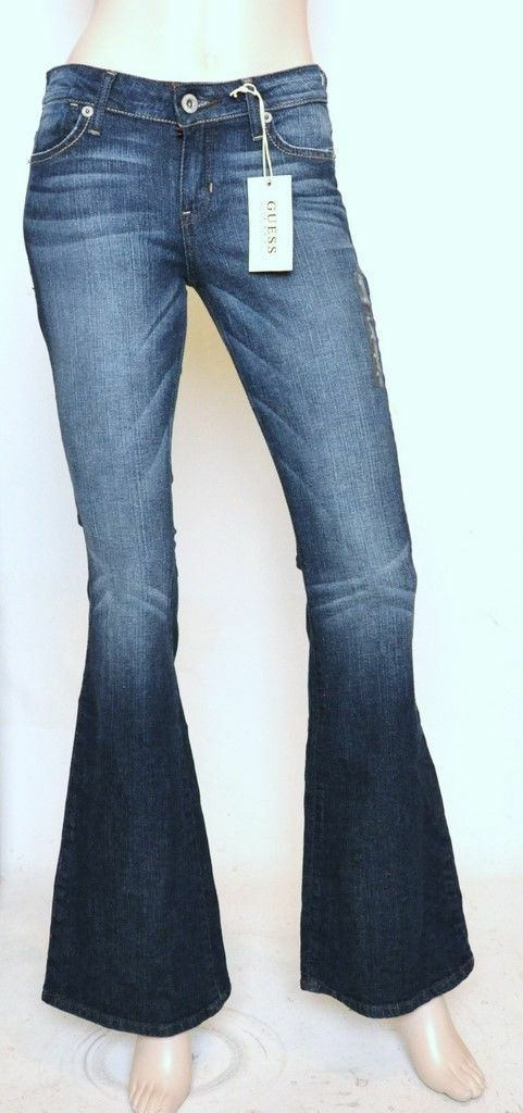 Nwt GUESS Flare Leg Slim Fit Mid Rise Stretch Jeans Pants Fairytale Wash 26