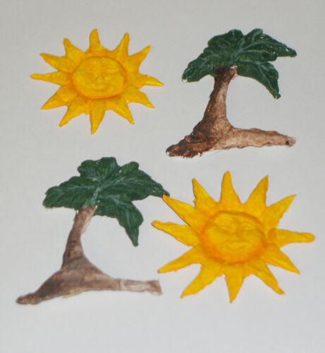 2 Palmen 3D-Sticker für Karten Streudeko Verzierung 2 Sonnen