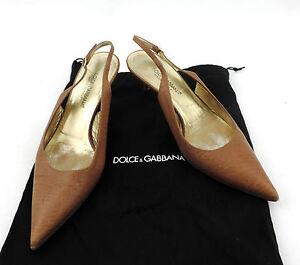 Dolce-amp-Gabbana-Pumps-36-slingback-braun-Riemchen-Sandalette