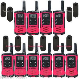 Motorola-Talkabout-T107-Walkie-Talkie-10-Pack-Set-16-Mile-Two-Way-Radios-Pink