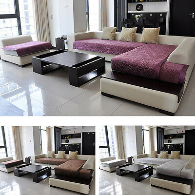 New Sofa Mat Anti-Slip Short Plush Slipcover Solid Color Couch Protective Cover