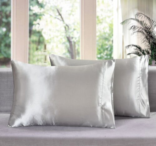 SET OF TWO NEW ULTRA SOFT SILK~Y SATIN KING PILLOWCASES